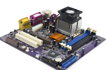 Motherboard on white background