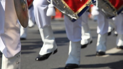 navy soldier and snare drum band passed ceremony