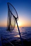 dip net in boat fishing on sunrise saltwater poster