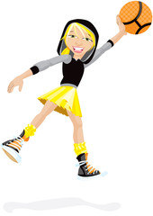 Girl Shooting A Basket Ball