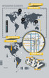 Infographic Elements with world map and a map of the subway