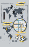 Infographic Elements with world map and a map of the subway poster