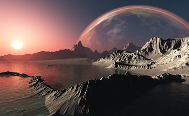 The mountainous terrain