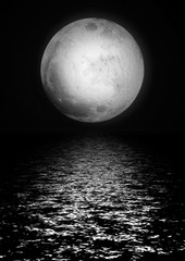delightful full silvery moon reflected in water
