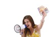 young woman with a megaphone and money (white background)