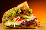 Fototapety Kebab - grilled meat, bread and vegetables