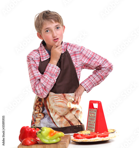 Сooking boy, isolated on white