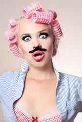 Attractive girl with a mustache