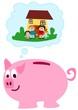 Sparschwein denkt an Einfamilienhaus