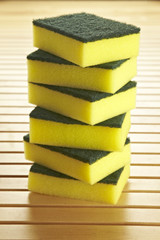 sponges mountain on wooden background