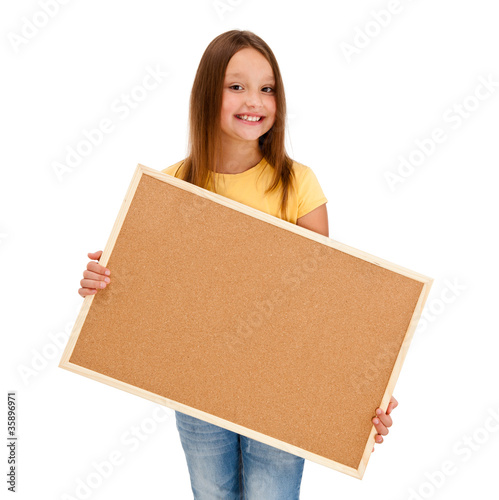 Girl holding noticeboard isolated on white background
