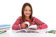 Girl learning isolated on white background