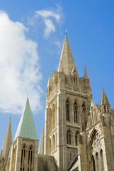 Truro Cathedral set agains a sunny blue sky.
