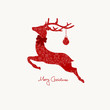 Christmas Card Ornament Reindeer Red