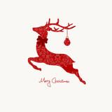 Christmas Card Ornament Reindeer Red