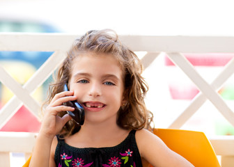 children kid girl talking mobile phone