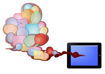 bubbles text in red cloud and tablet PC