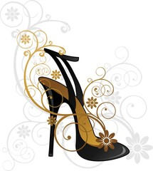 Black shoe with floral decorations