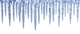 Blue icicles on white background - panorama - 35900354