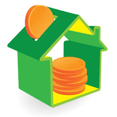 Green home moneybox with coins