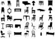 Furniture silhouette vector illustration set.