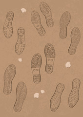 Illustration set of footprints on the beach.