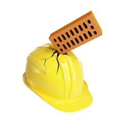 brick crashed through a construction helmet