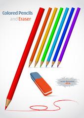 Pencil and eraser. Vector illustration set.