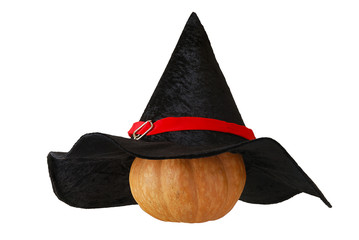 Small Halloween pumpkin in witch hat