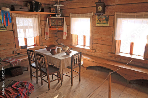 interior of the old wooden building - 35902571