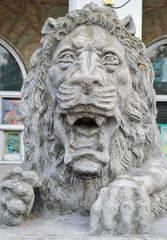 A stone statue of a lion St. Petersburg