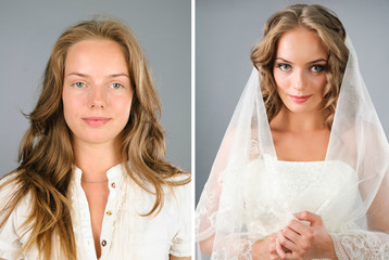 beautiful girl before and after makeover in studio
