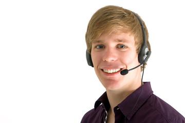 junger Mann mit Headset