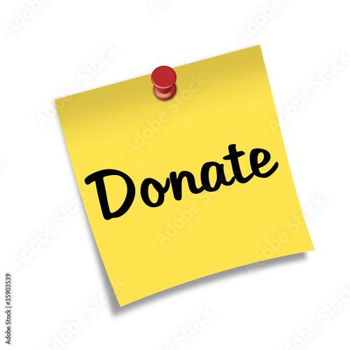 Post-it con chincheta texto Donate