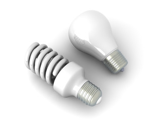 Energiesparlampe und Glühbirne