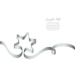 Silver Ribbon Christmas Star & Swirl
