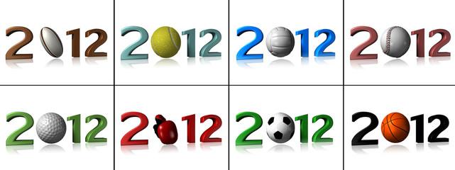 Eight 2012 sport designs on white background