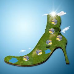 Negozi scarpe geografia fumetto cartoon mappa