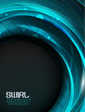 Blue swirl vector abstract background