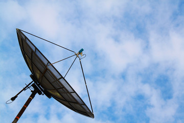 Communication Satellite TV with a bright sky