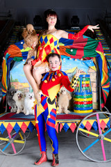 Clown lift up woman poodle circus arena