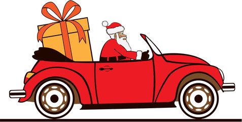 Santa driving car with large present inside