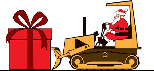 Santa pushing large present on bulldozer