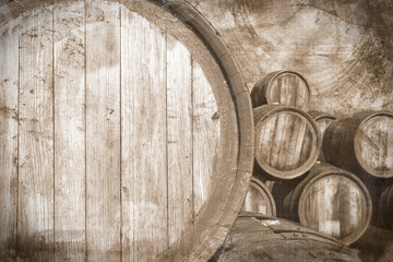Old wine casks in vintage stile, background