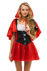 woman in carnival costume. Little Red Riding Hood shape