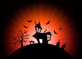 Red halloween nightmare world background poster