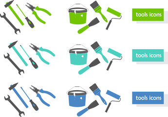 Set of tools icons (three colors)