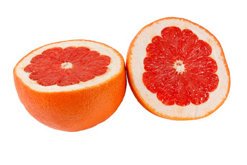 Halved fresh juicy pink grapefruit