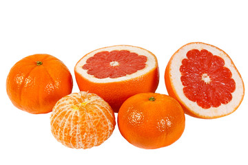 Fresh juicy pink grapefruit and tangerines