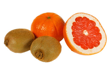 Fresh juicy pink grapefruit, tangerine and kiwi